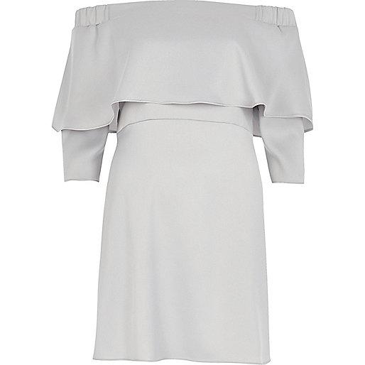 Silver deep frill bardot swing dress