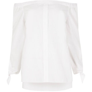 White tie sleeve bardot shirt