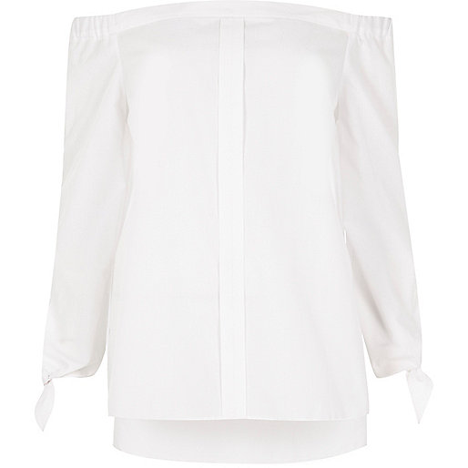 White tie sleeve bardot shirt
