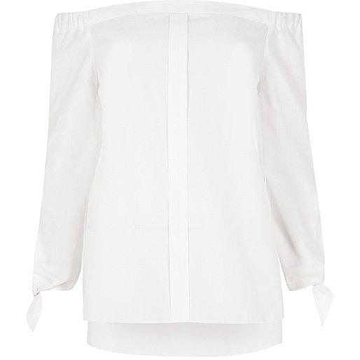 Chemise bardot blanche avec nœuds aux manches