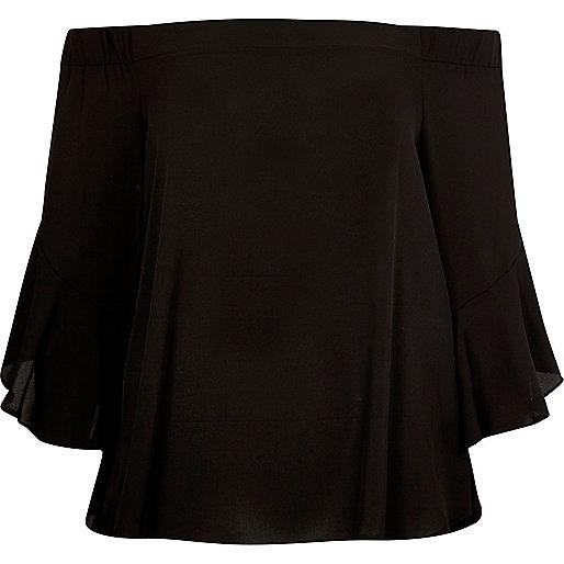 Black bardot flared sleeve top