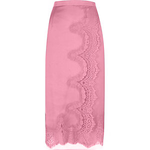 Pink scalloped eyelash lace midi wrap skirt