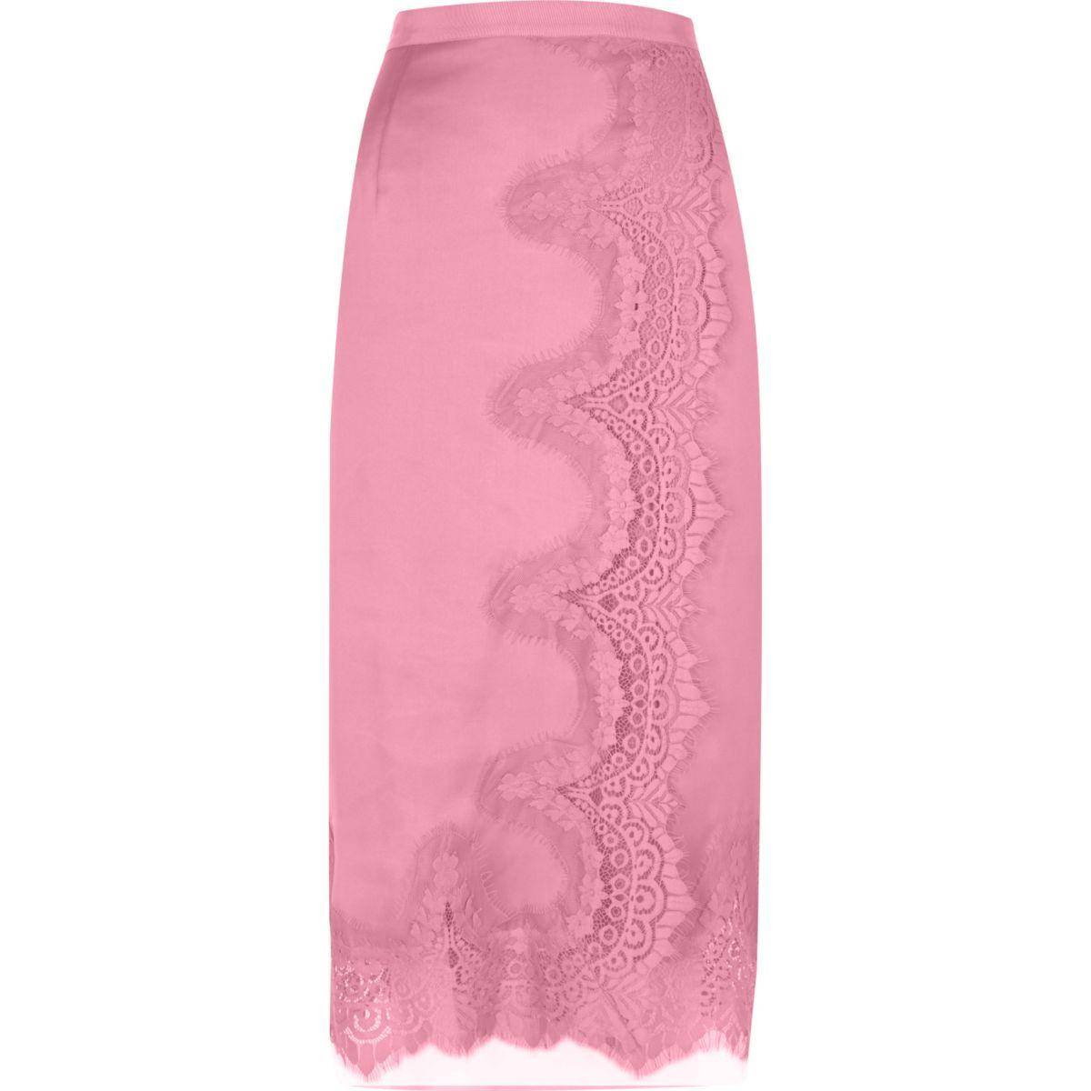 Pink scalloped eyelash lace midi wrap skirt