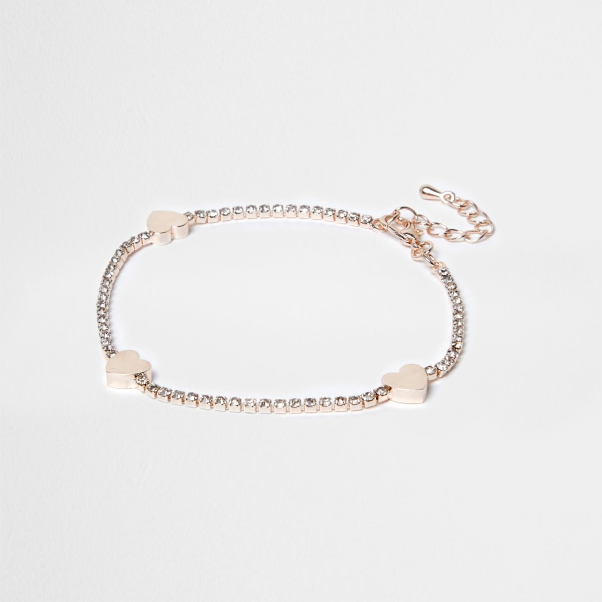 Rose gold tone rhinestone heart anklet