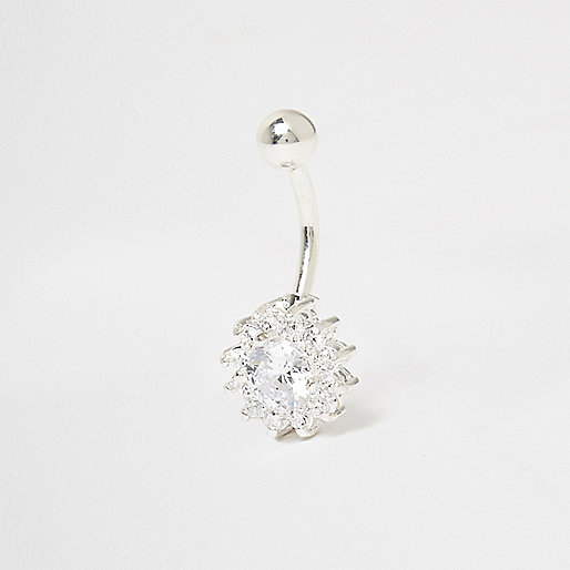 Silver tone floral rhinestone belly bar