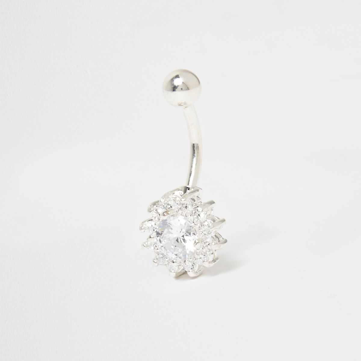 Cubic zirconia silver tone diamante belly bar