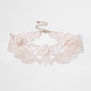Light pink lace choker