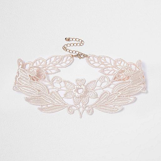 Light pink lace choker
