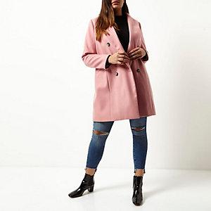 Plus – Zweireihiger Mantel in Pink