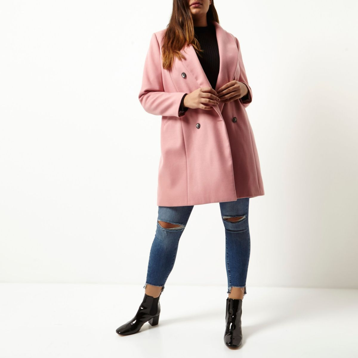 Plus pink double breasted coat