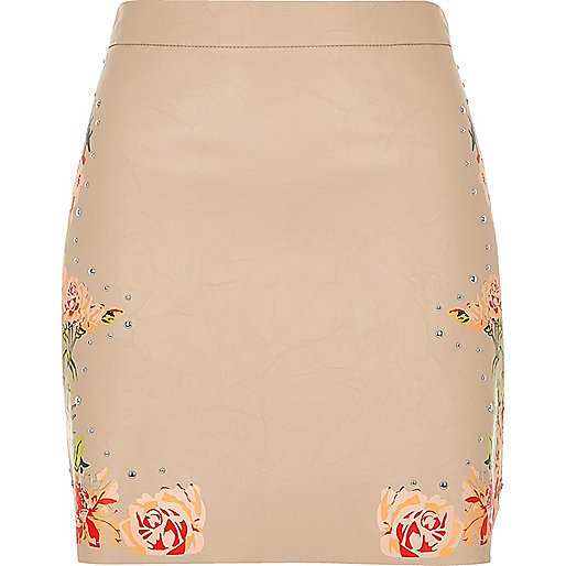 Blush pink faux leather floral mini skirt