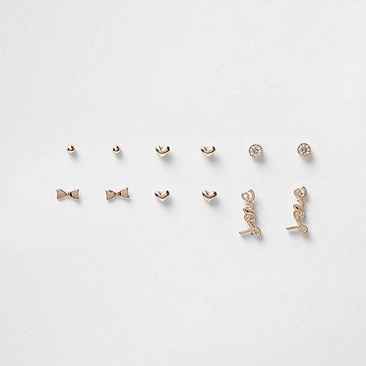 Lot de boucles d'oreilles dorées