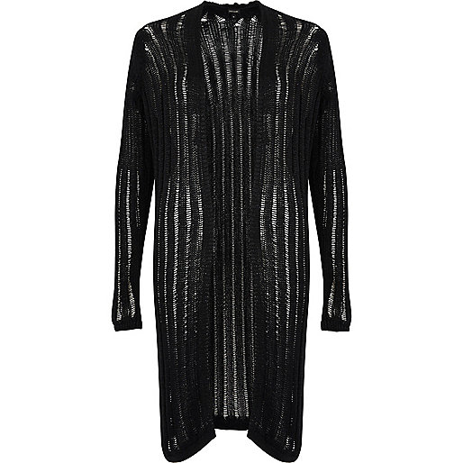 Black ribbed knit long cardigan