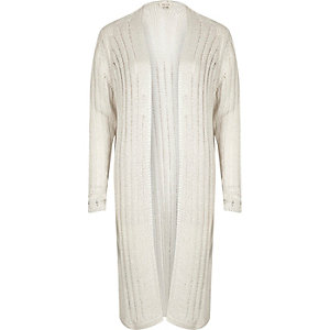 White ribbed knit cardigan