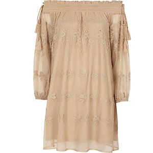 Nude floral embroidered smock swing dress