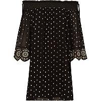 Black embroidered smock swing dress