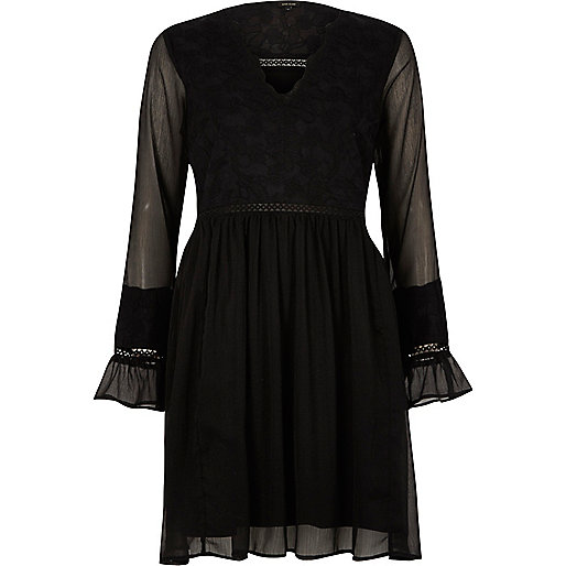 Black lace long sleeve smock dress