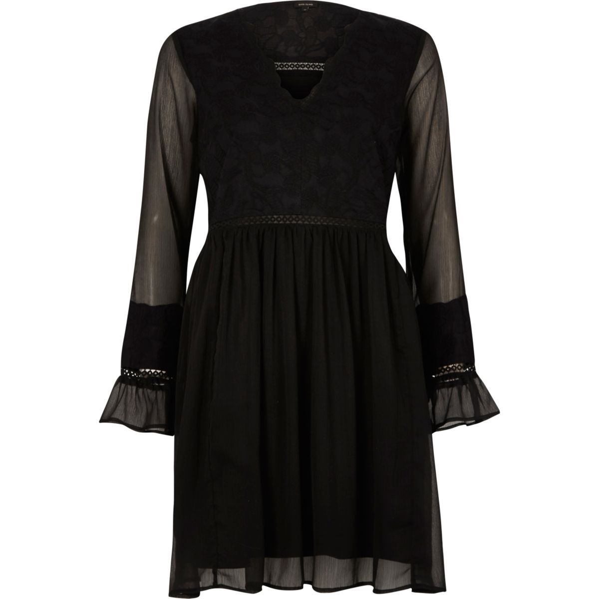 Black lace long sleeve smock dress