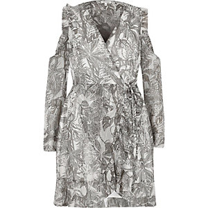Robe croisée imprimé feuillage grise à épaules dénudées