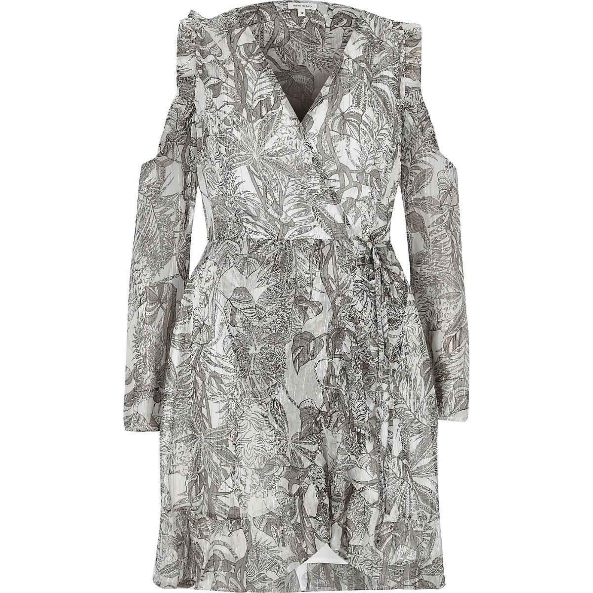 a6d7cff9bcd3 Grey leaf print cold shoulder wrap dress - Swing Dresses - Dresses - women