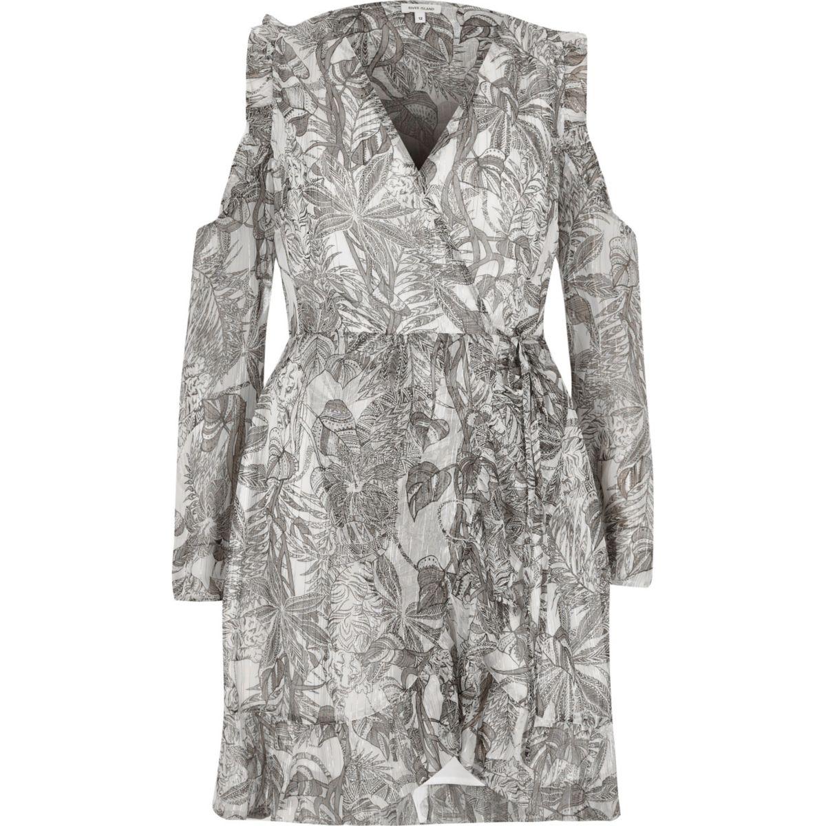 Grey leaf print cold shoulder wrap dress