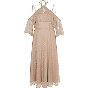 Beige dobby mesh cold shoulder maxi dress