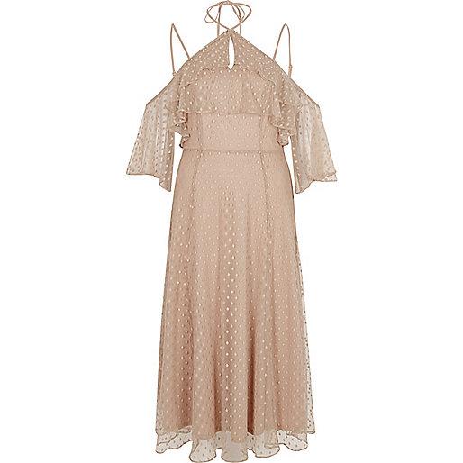Beige dobby schouderloze maxi-jurk van mesh