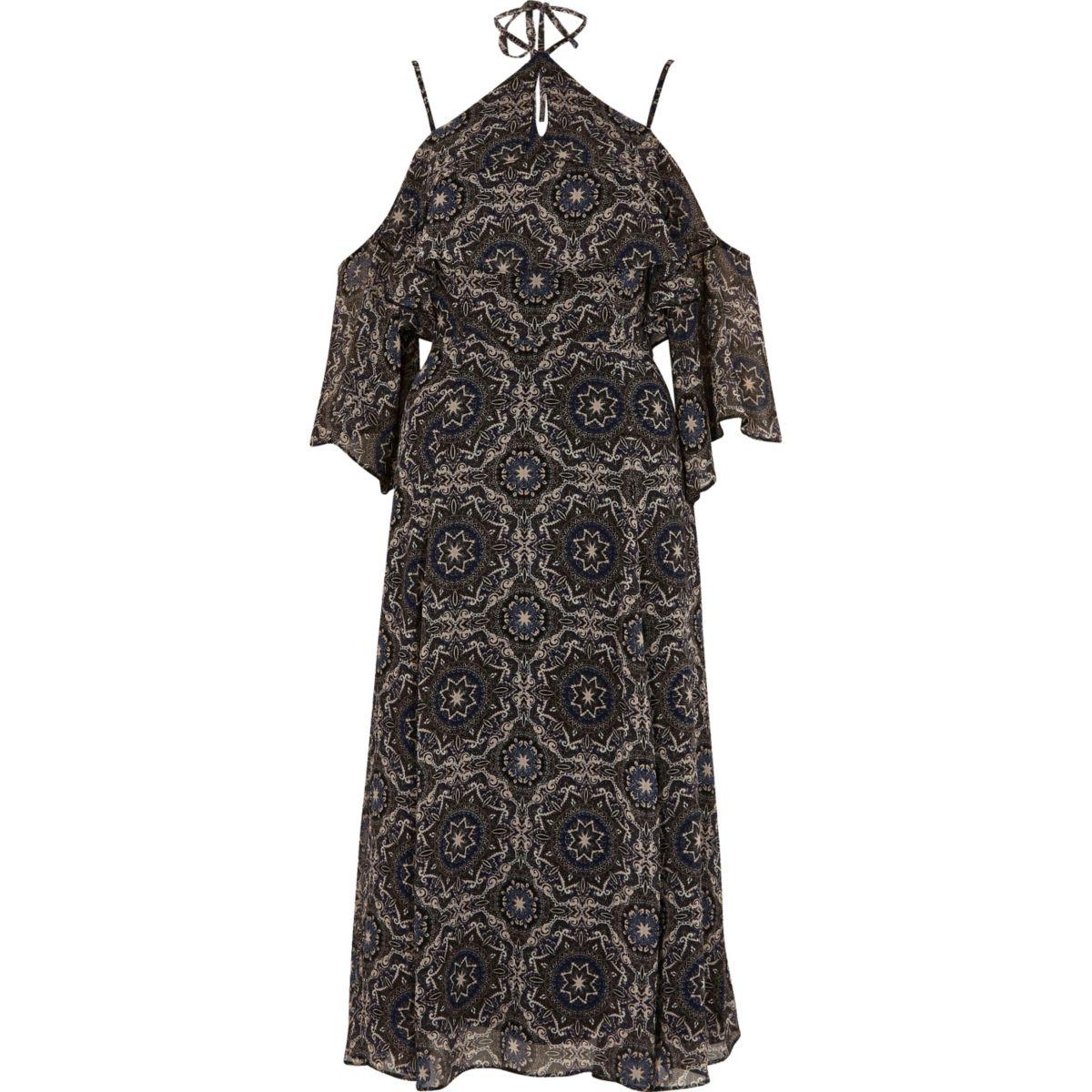 Purple tile print cold shoulder midi dress