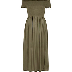 Khaki green geo bardot maxi dress