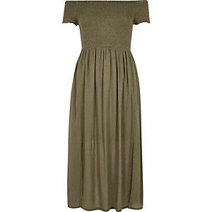 Robe longue Bardot vert kaki