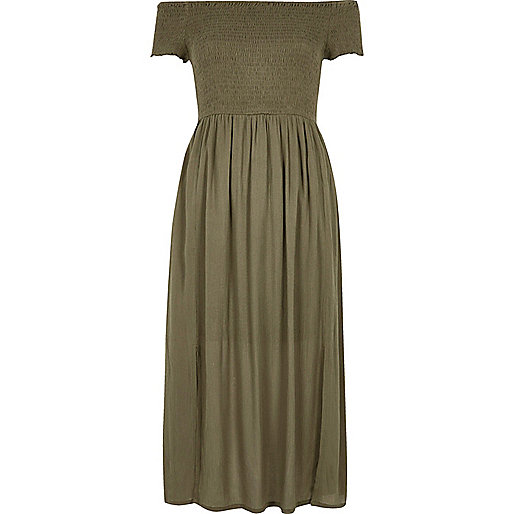 Khaki green geo bardot maxi dress
