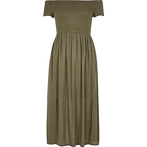 Khaki green bardot maxi dress