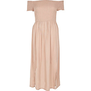 Light pink shirred bardot maxi dress