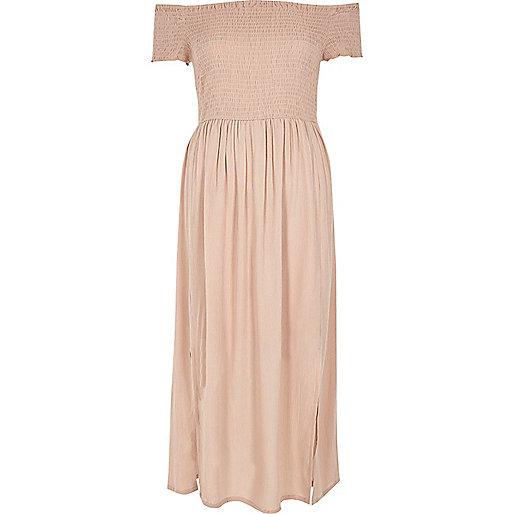 Light pink shirred bardot maxi dress