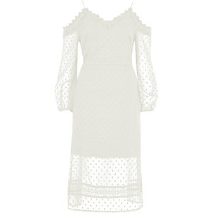Cream dobby mesh cold shoulder dress