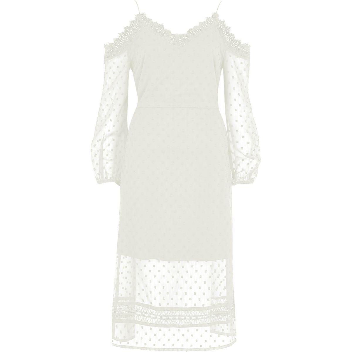 Cream dobby mesh cold shoulder dress