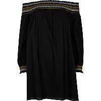 Black embroidered bardot smock dress