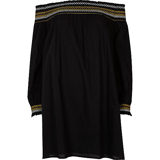 Black embroidered bardot smock dress