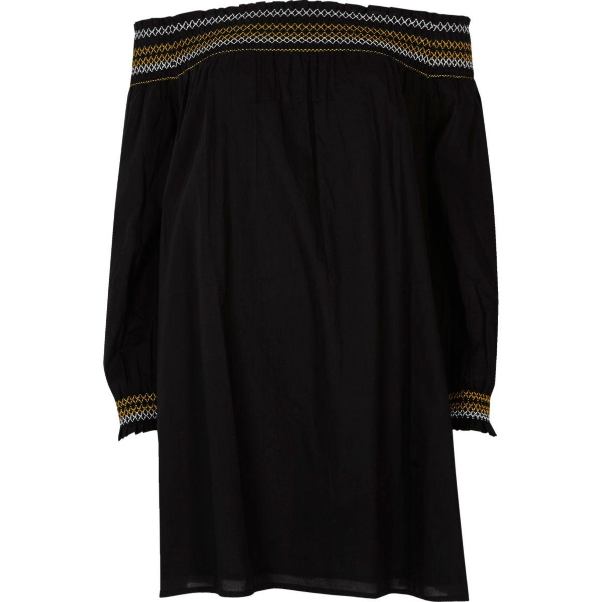 Schwarzes Smock-Kleid mit Schulterausschnitten und Stickerei