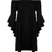 Black frill sleeve bardot swing dress