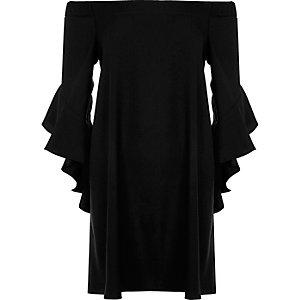Black frill sleeve bardot swing dress