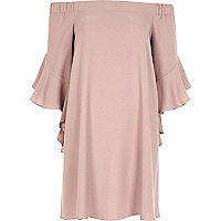 Nude pink bardot swing dress