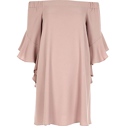 Nude pink bardot swing dress