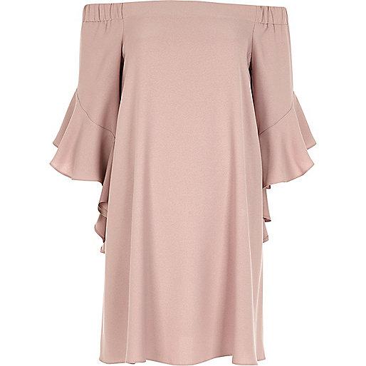 Robe évasée Bardot rose chair