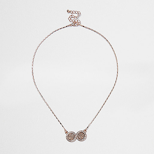 Rose gold tone filigree coin necklace