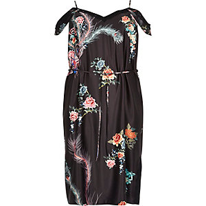 Plus black print cold shoulder slip dress