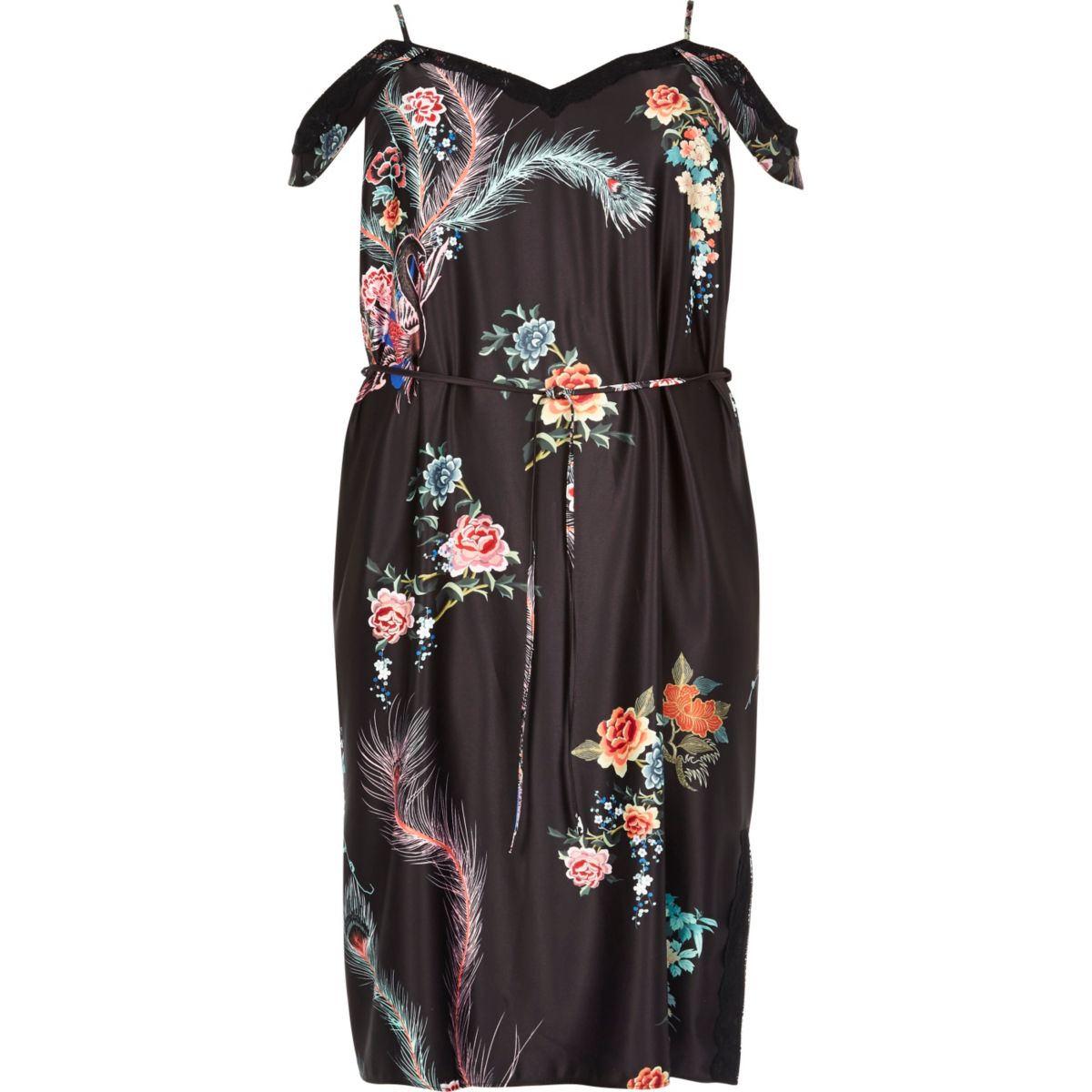 Plus black print cold shoulder slip dress
