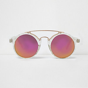 Glitter round double brow bar sunglasses