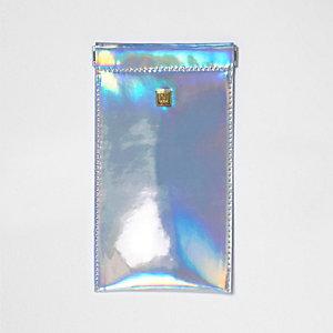 Zilverkleurige zonnebriletui met klapsluiting en hologram