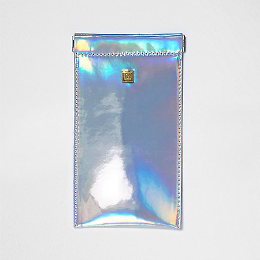 Silver hologram snap sunglasses case